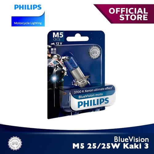 Foto Produk BlueVision 25/25W-3 M5 Kaki 3 3700K 12164BVB1 Bola Lampu Motor Philips dari Philips Moto