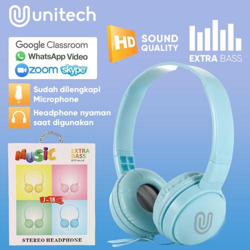Foto Produk Headphone Headset Kabel Unitech J18 Macaron + Microphone Extra Bass - Hitam dari Unitech Official