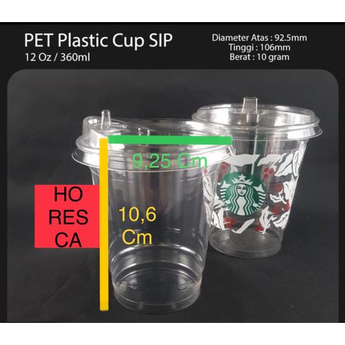 Foto Produk Plastic Cup PET / Gelas PET 12 Oz + Strawless Lid @50 Pcs SIP 92.5 dari HoResCa