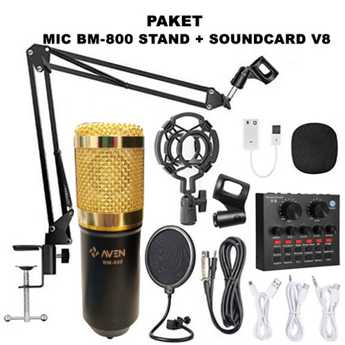 Foto Produk PAKET Live Microphone Rekaman AVEN BM800 Soundcard V8 Stand Pop Filter dari mofan accesories