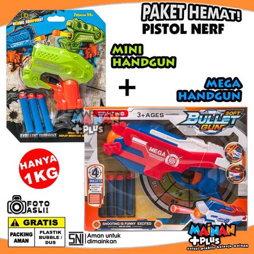 Foto Produk Paket Mainan Pistol Peluru Busa Mini and Mega Soft Bullet Handgun SNI dari MainanPlus