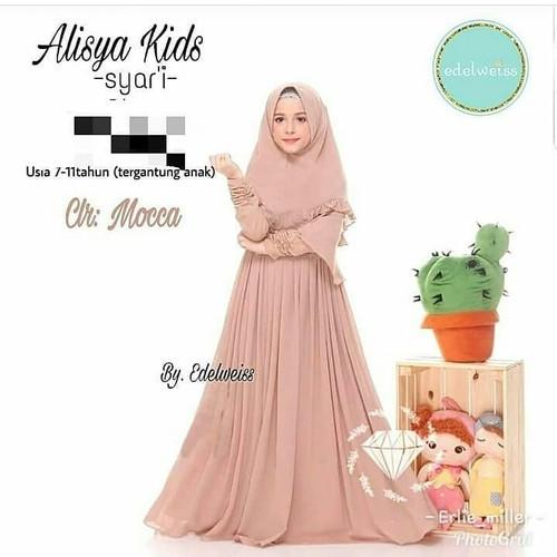 Foto Produk Baju Gamis Anak Perempuan Umur 9-10 Tahun Alisya Kids Syari 2020 dari TREND11 FASHION