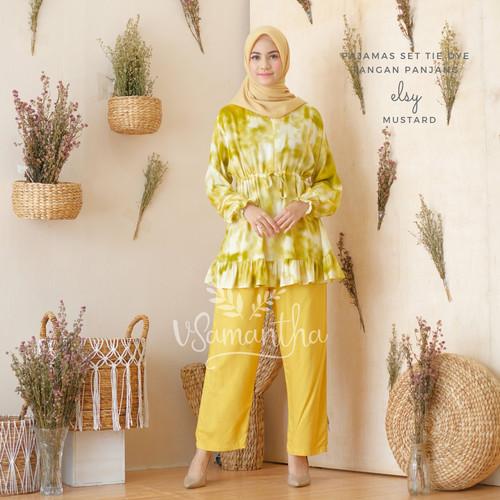 Foto Produk Pajamas / Piyama Set Tie Dye Muslim Rempel Busui Friendly Elsy - Mustard dari Beli Mukena