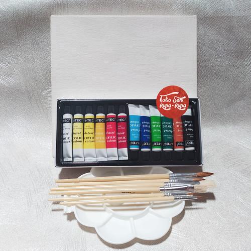 Foto Produk Paket Melukis, Paket Lukis, Kuas, Cat set 12, Palet, Kanvas 20 x 20cm dari Toko Seni Rupa - Rupa