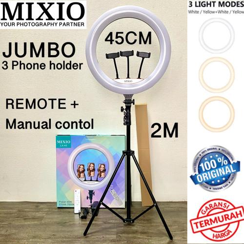 Foto Produk Ring Light 45cm + Light Stand Tripod 2M with 3 Holder HP & Remot 18INC - NO TAS dari Mix acc88