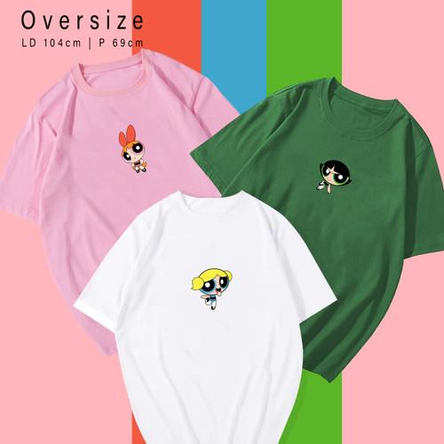 Foto Produk POWER PUFF GIRLS - Kaos Santai Wanita / Pria Unisex fit To XL Oversize - Putih dari rever_woman