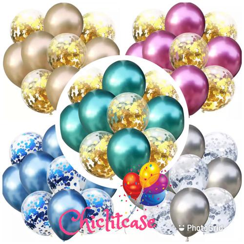 Foto Produk Balon set confetti chrome silver gold purple red blue - red dari chic lit case