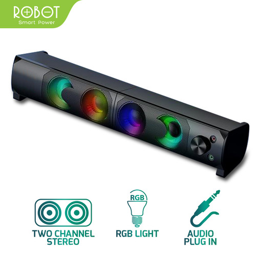 Foto Produk ROBOT RS300 Speaker Laptop/Komputer/ Gaming Soundbar Portable RGB dari Robot PC Official Store