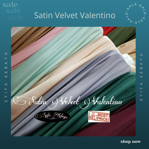 Foto Produk Kain satin velvet. satin polos meteran. satin silk velvet dari SYIFA KEBAYA