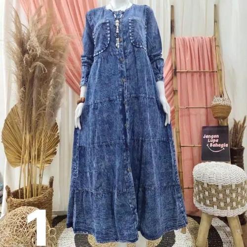Foto Produk Gamis Jeans Denka Maxy / Dress / Baju Muslim / Pakaian Wanita Model - one color, XL dari twins colections1