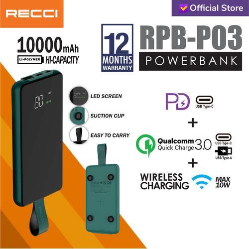 Foto Produk Recci Power Bank Led Wireless Suction Cup RPB-P03 10000Mah Hijau/Hitam - Hijau dari Recci Official Shop ID
