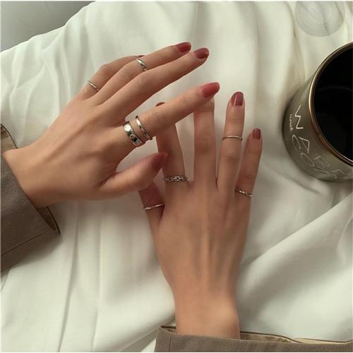 Foto Produk 7pcs/set Cincin Wanita Silver Aksesoris Cincin Tumpuk Fashion Korea dari Venditionis_shop
