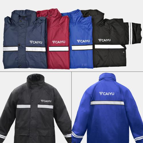Foto Produk Jas Hujan Caiyu Original / Bahan Taslan / Jaket Hujan Anti Bocor - Navy, M dari Baellerry Official Store