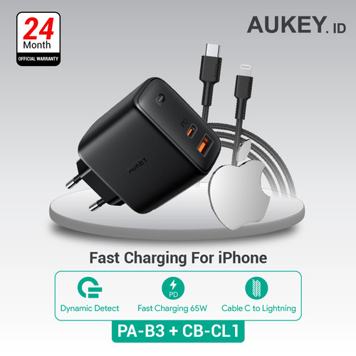 Foto Produk Aukey Charger PA-B3 + Aukey Cable CB-CL1 Black dari Aukey Makassar