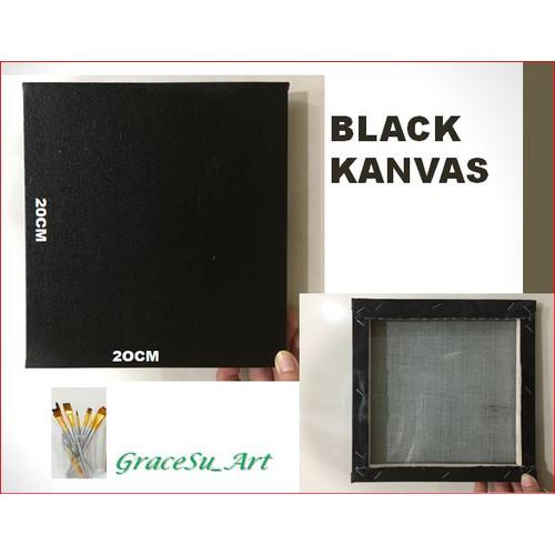 Foto Produk GRACESU ART BLACK CANVAS KANVAS HITAM UNTUK MELUKIS DIY UK 20X20 dari GraceSu_Art