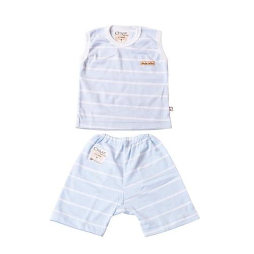 Foto Produk Stelan Oblong Kutung Dan Cln Pendek - CHIYO - Motif Classic Stripe - M - Biru dari Chiyo Babywear