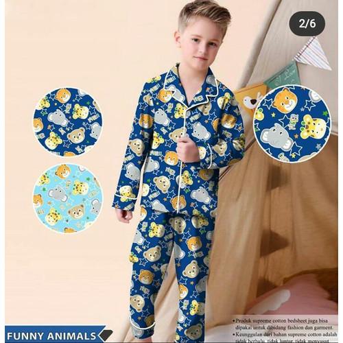 Foto Produk Lemons Piyama Anak Tangan Panjang Animal Pose Usia 1-12 tahun - Biru, 2-3 tahun dari JC Piyama Grosir