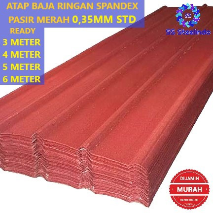 Foto Produk ATAP BAJA RINGAN SPANDEX / SPANDEK / SPANDECK PASIR MERAH 0,35MM STD dari SS Steelindo
