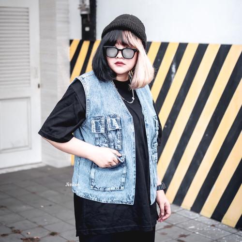Foto Produk JINISO Vest Jaket Jeans Oversize Blue Acid dari JINISO.ID