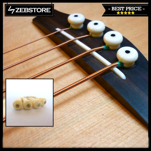 Foto Produk Paku Gitar Pin Bridge Bass Premium Gold Flash Ivory 4Pcs dari Zeb Hobbies Store