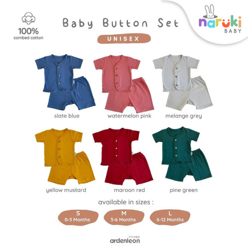 Foto Produk Ardenleon Baby Button Set Arden Leon Baju Setelan Bayi - Watermelon Pink, S dari naruki