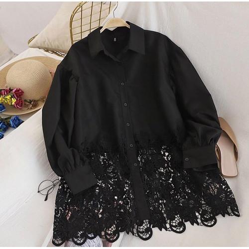 Foto Produk Ziva Top | Terminal Grosir | Baju Atasan Moscrepe Kombinasi Brukat - Black dari Terminalgrosir Indonesia