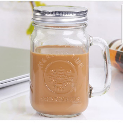 Foto Produk Harvest Drinking Jar Tutup Stainless/Harvest Jar/Mug Jar Glass/Gelas dari Tensocien shop