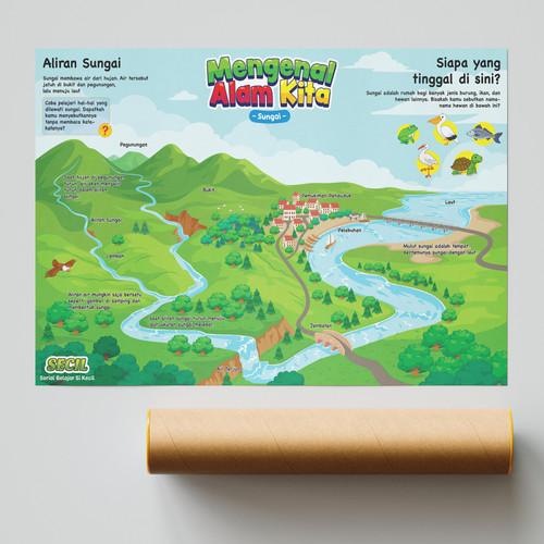 Foto Produk Poster SECIL Lingkungan Alam Kita Sungai Gunung PREIMUM dari Secil Mainan