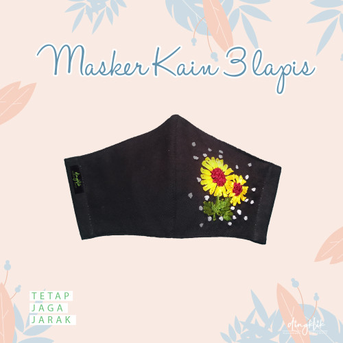 Foto Produk Masker Kain 3 Lapis Sulam Bunga Matahari dari Dingklik collection