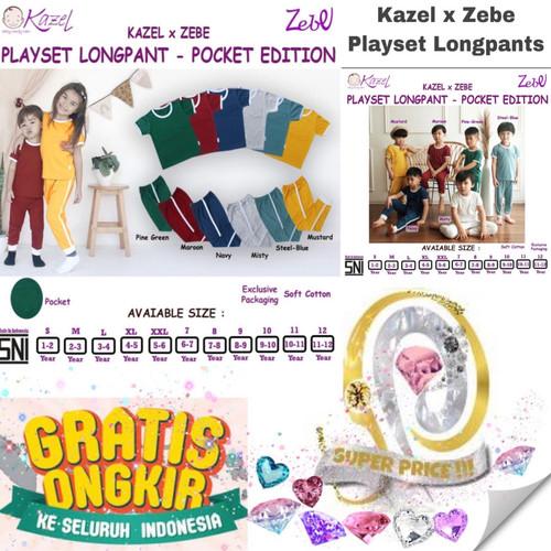 Foto Produk Kazel X Zebe Playset Longpants Pocket Edition size 7-12 Baju Setelan - Pine green, Size 7 dari SUPER PRICE