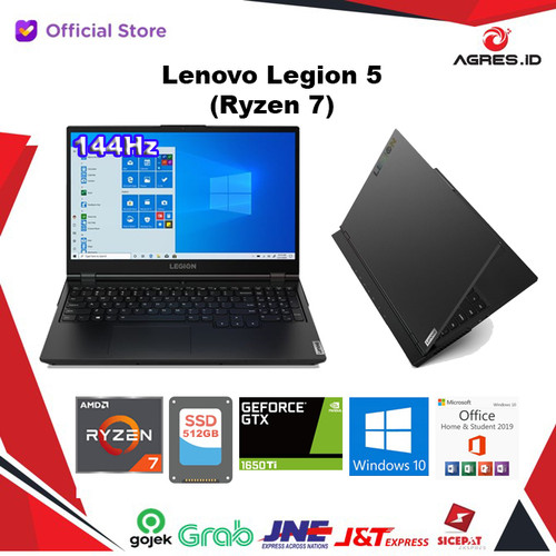 Foto Produk Lenovo Legion 5 Ryzen 7 4800H 16GB 512SSD GTX1650Ti W10+OHS 144Hz 15.6 dari AGRES ID