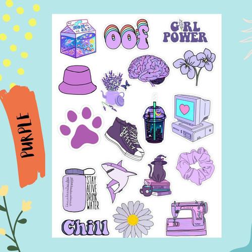 Jual Sticker Aesthetic Tumblr Purple Edition Case Hp Laptop Journal Book Kota Bekasi Lesliegoods Tokopedia