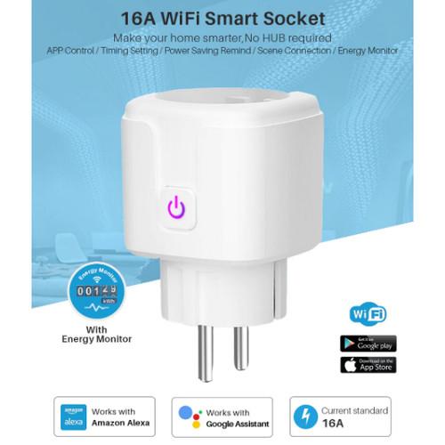 Foto Produk Wifi Smart Plug 16A Steker Pintar support Google/Alexa Tuya Smart Life dari Red Zone Jakarta