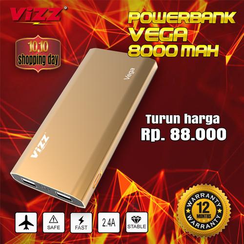 Foto Produk VIZZ POWERBANK VZ8800 VEGA 8000 MAH DUAL PORT REAL CAPACITY dari Vizz Official Store