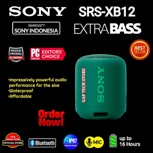 Foto Produk Sony SRS XB12 / SRS XB 12 Waterproof Bluetooth Speaker With EXTRA BASS - GREEN dari GAP TECH STORE