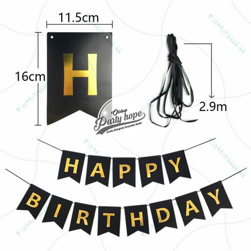 Foto Produk Banner happy birthday HITAM bunting flag hbd ultah HITAM tulisan gold dari PARTY HOPE 2
