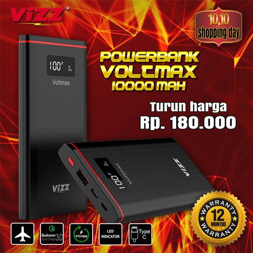 Foto Produk VIZZ POWERBANK VOLTMAX 10000 MAH QUICK CHARGE 3.0 PD18 DUAL PORT dari Vizz Official Store