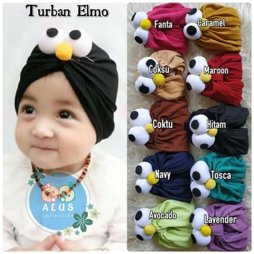 Foto Produk Turban Elmo | Turban Bayi Elmo | Turban Anak Elmo | - Hitam, 0-3 tahun dari alus Collection
