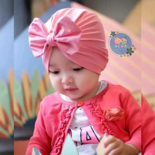 Foto Produk Topi Anak bayi turban knot/bando anak bayi turban knot/topi lucu anak - Merah Muda, 0-3 tahun dari alus Collection