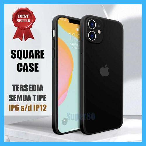 Foto Produk Casing iPhone 6 6s 7 8 Plus X XS XR Max TPU Silicon Kotak 12 Square - Hitam, 6 atau 6s dari Super80