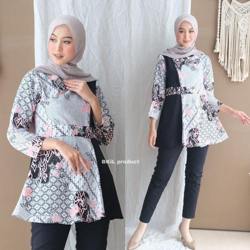 Foto Produk Atasan Wanita Blouse Batik Modern Kombinasi moscrepe Murah M L Xl - Hitam, M dari Batik Em YS