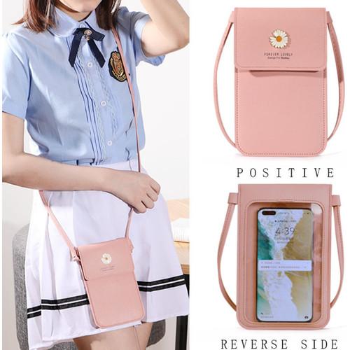 Foto Produk TS138 Tas Selempang Wanita Mini Kulit PU Daisy Flower Womem Bag - pink dari EnnWen Online Store
