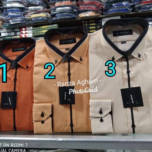 Foto Produk Kemeja Alisan Lengan Panjang Polos Kombinasi Slim Fit Size S M L XL dari Ranza agham