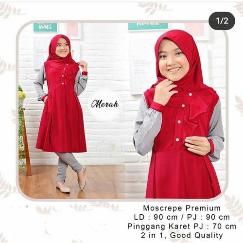 Foto Produk Baju Anak Perempuan Usia 6-8 Tahun SOPHIA SET KIDS Setelan Anak Muslim - red dari TOF Bandung