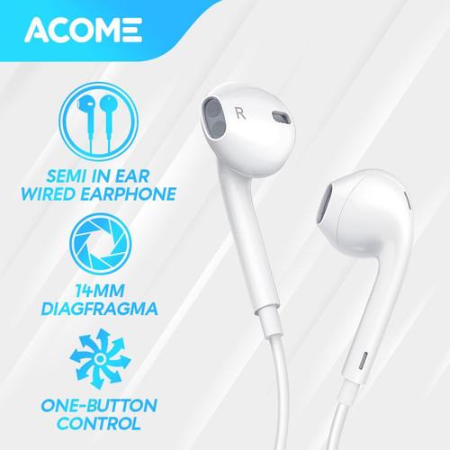 Foto Produk ACOME Headset Stereo Sound Microphone Semi In Ear Wired Earphone - White dari Acome Indonesia