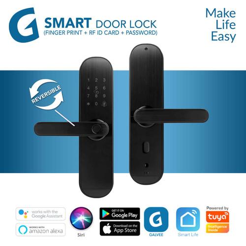 Foto Produk GALVEE Smart Door Lock Wifi Reversible - Fingerprint RFID Card Pin Key - Reversible dari Galvee Official Store