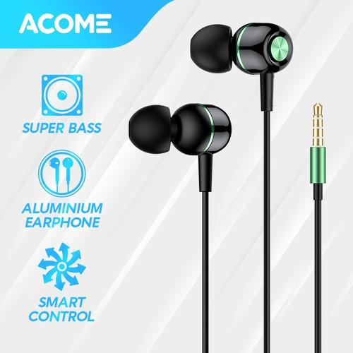 Foto Produk ACOME Wired Earphone Headset In-Ear Color Super Bass Headphone AW02 - Black Green dari Acome Indonesia