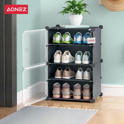 Foto Produk Aonez rak sepatu 4 tingkat rumah Tempat Sepatu - Hitam, 1 baris dari AONEZ Official Store