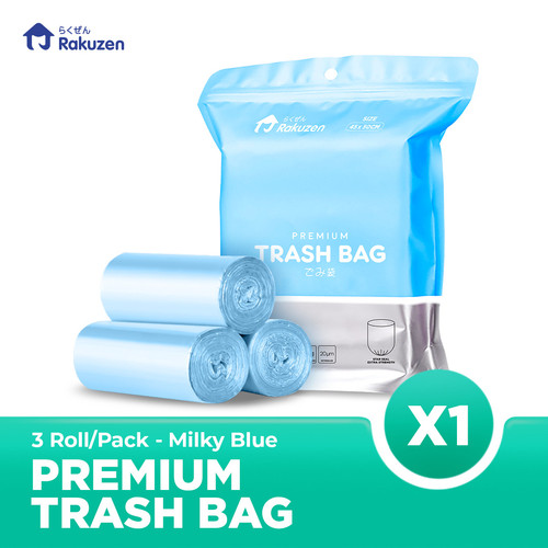 Foto Produk Rakuzen Premium Trash Bag Uk. 45 x 50 - Milky Blue dari Bagus Official Store