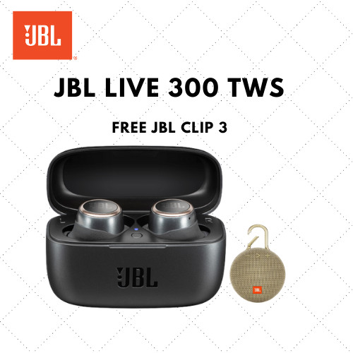 Foto Produk JBL Live 300 TWS Black Free JBL Clip 3 Sand dari JBL Official Store